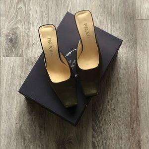 Prada square toe mules